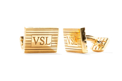 Adele Diamond 14K Yellow Gold-Plated Sterling Silver 3-Letter Cuff Links