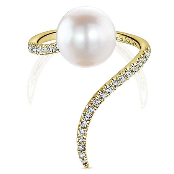 Gabriel NY Ladies 14K Yellow Gold Diamond Pearl Fashion Ring LR51116Y45PL