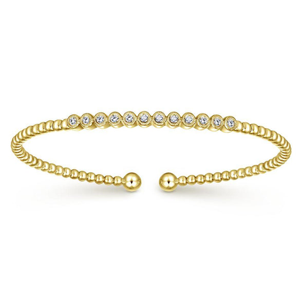 Gabriel NY 14k Yellow Gold Pave Diamond Bujukan Bangle