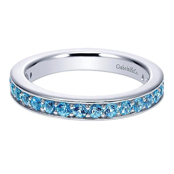 Gabriel NY Ladies 925Silver Swiss Blue Topaz Stackable Band LR6803-7SVJBT