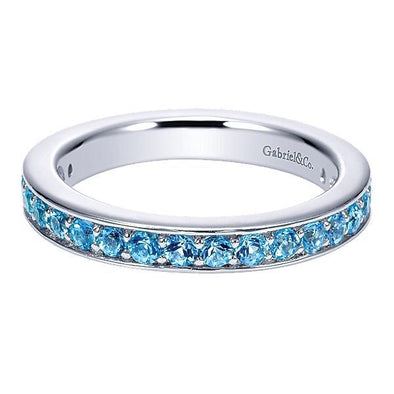 Gabriel NY Ladies 925 Silver Swiss Blue Topaz Stackable Band LR6803-7SVJBT