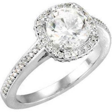 14K Vintage Diamond Encrusted Halo Engagement Ring