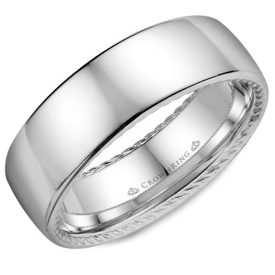 Gents 14K WG Wedding Band w/ Polished Finish & Hidden Rope Detailing WB-012R7W (7mm)