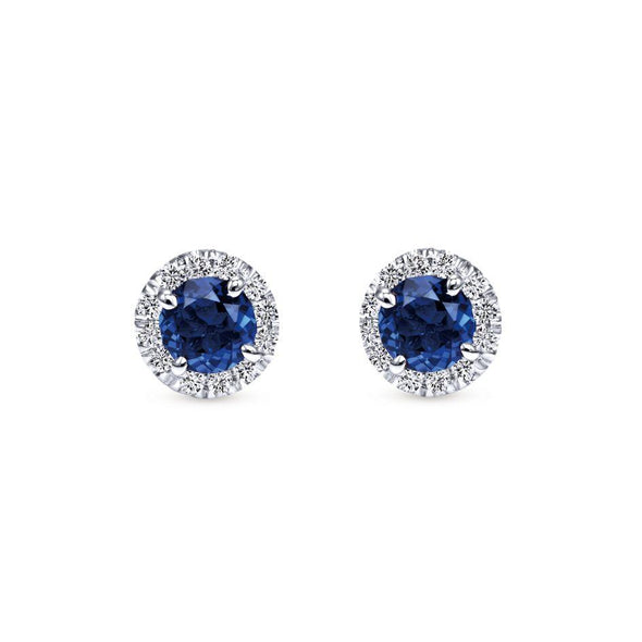 Gabriel NY 14k White Gold Regal Stud Earrings with Blue Sapphires & Diamonds