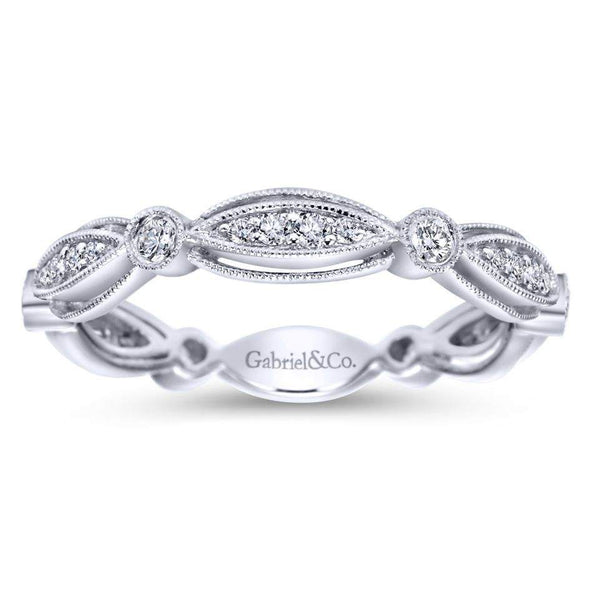 Gabriel NY 14k White Gold Ladies Mix Match Diamond Stackable Ring