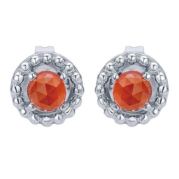 925 Silver Rock Crystal & Red Onyx Studs