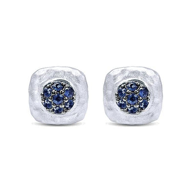 925 Silver And Pavé Sapphire Studs