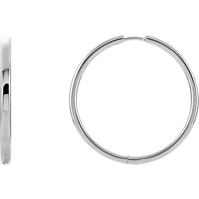 Classic 14 Karat White 39mm Hinged Hoop Earrings