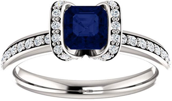 14K Vintage Asscher Halo Diamond Engagement Ring