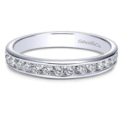 Ladies 14K White Gold Straight  Anniversary Band