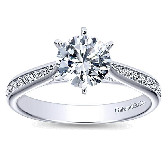 14K Contemporary Channel Set 6-Prong Diamond Engagement Ring