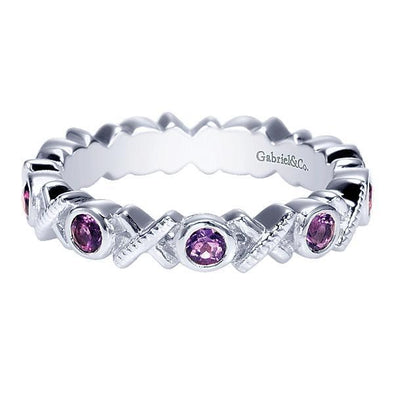 Gabriel NY Ladies 925 Silver Amethyst Stackable Band LR6801-7SVJAM