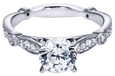 14K White Gold Victorian Milgrain Detail Diamond Engagement Ring