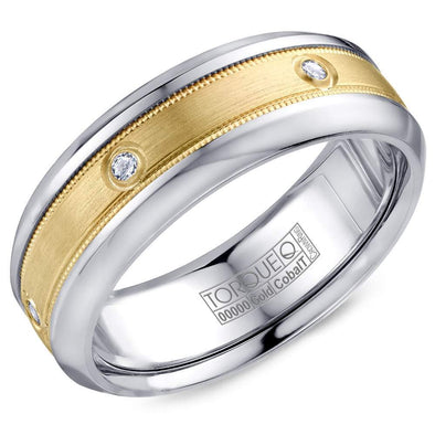 Gents Cobalt & Gold Wedding Band w/ Yellow Gold Inlay & Six Diamonds CW087MY75 (7.5mm)