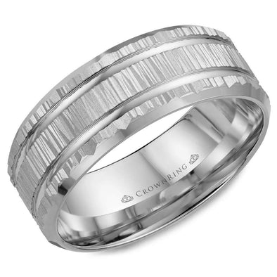 Gents 14K WG Wedding Band w/ Bark Finish & Line Detailing WB-7921 (8mm)