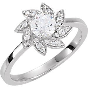 14K Nature Inspired Flower Halo Diamond Engagement Ring