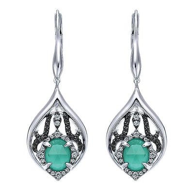 925 Silver Multi Color Stones Drop Earrings