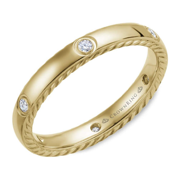14K YG Wedding Band w/ Rope Detailing & 6 Round Diamonds WB-016RD3Y (3mm)