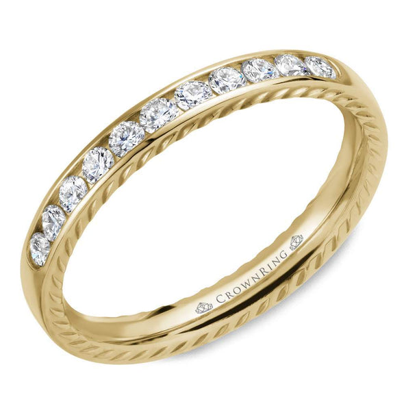 14K YG Wedding Band w/ 11 Round Diamonds & Rope Detailing WB-018RD3Y (3mm)