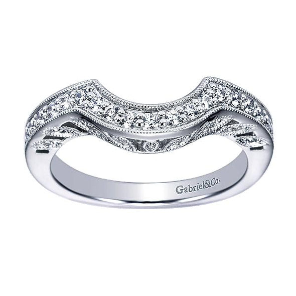 Ladies 14K White Gold Victorian Curved Wedding Band