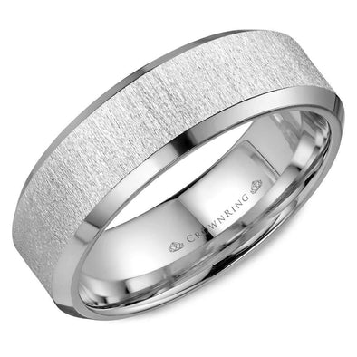 Gents 14K WG Wedding Band w/ Beveled Edges & Textured Sandblast Center WB-8050 (7mm)