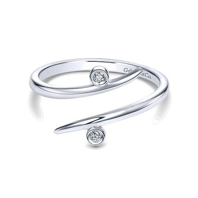 Gabriel NY Ladies 14K White Gold Diamond Midi Ring LR50531W45JJ