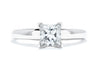 14K White Gold GSI Certified SI2/F 1ct Square Diamond Solitaire Ring