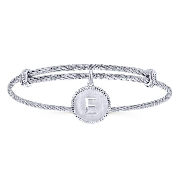 "Gabriel NY 925 Silver/Stainless Steel ""E"" Charm Bangle"