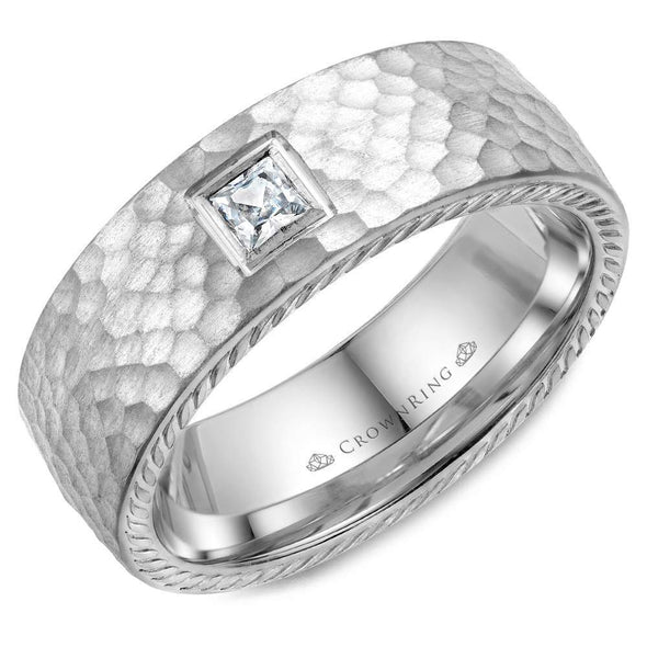 Gents 14K WG Wedding Band w/ Hammered Finish, Princess Cut Diamond & Rope Detailing WB-021RD8W (8mm)