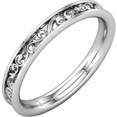 Engraved Floral Art Filigree 14K Solid White Gold Wedding Band