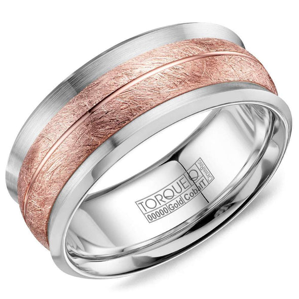 Gents Cobalt & Gold Wedding Band w/ Brushed Rose Gold Inlay & Line Detailing CW114MR9 (9mm)