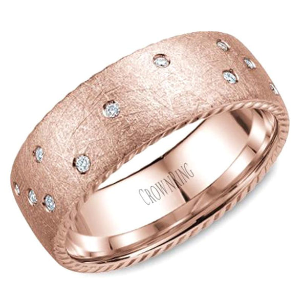 Gents 14K Rose Gold Wedding Band w/ 21 Diamonds & Rope Detailing WB-020RD8R (8mm)