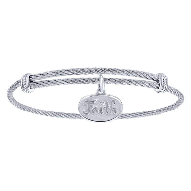 Gabriel NY 925 Silver/Stainless Steel Faith Charm Bangle