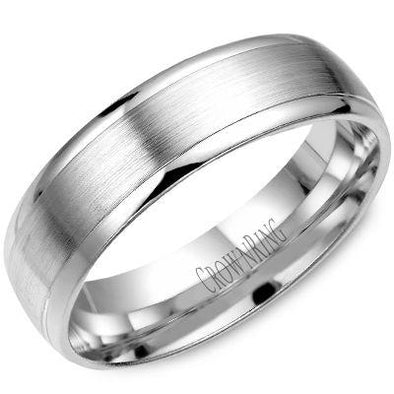 Gents 14K White Gold Wedding Band w/ Brushed Center WB-7019 (6mm)