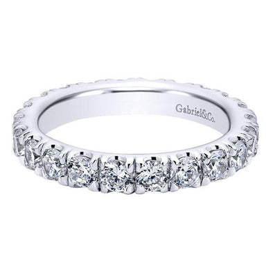 Ladies 14K White Gold Straight Eternity Anniversary Band