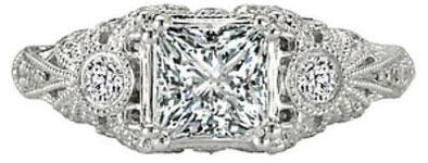14K Vintage Milgrain Detail Princess Cut Diamond Engagement Ring
