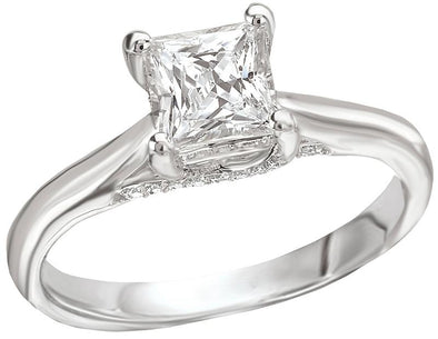 14K Contemporary Trellis Princess Cut Diamond Engagement Ring