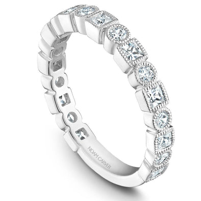 Noam Carver Platinum Stackable Ring - 19 Round Diamonds STB18-1WZ-D