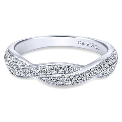 Ladies 14K White Gold Twisted Diamond Wedding Band