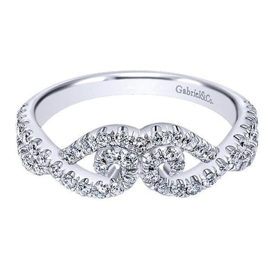 Ladies 14K White Gold Curved Scroll Diamond Anniversary Band