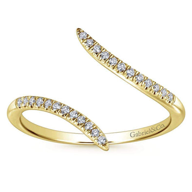 Gabriel NY 14k Yellow Gold Ladies Edgy Open Bypass Diamond Ring