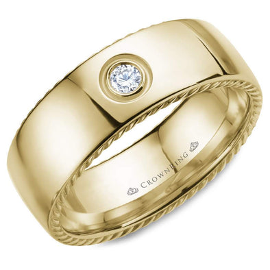 Gents 14K YG Wedding Band w/ Rope Detailing & Round Diamond WB-016RD8Y (8mm)