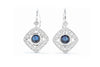 14K White Gold .20ctw Diamond & Sapphire Drop Earrings EG12292