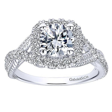14K Three-Strand Braided Diamond Halo Engagement Ring