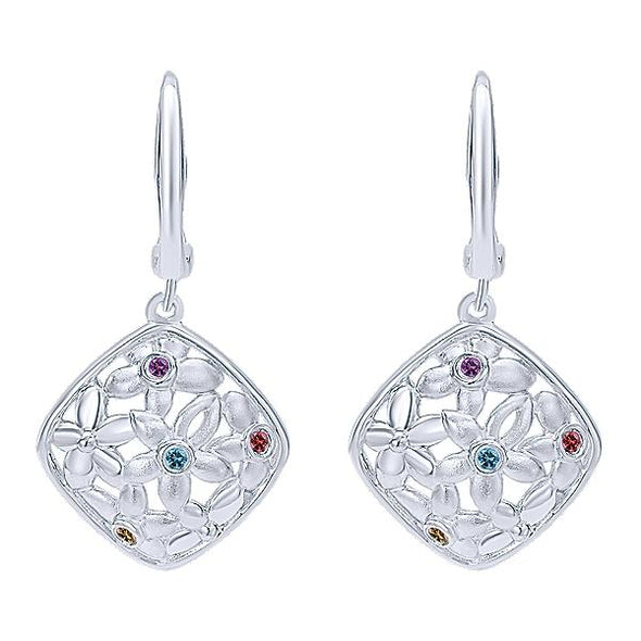 925 Silver Multi Color Stones Drops