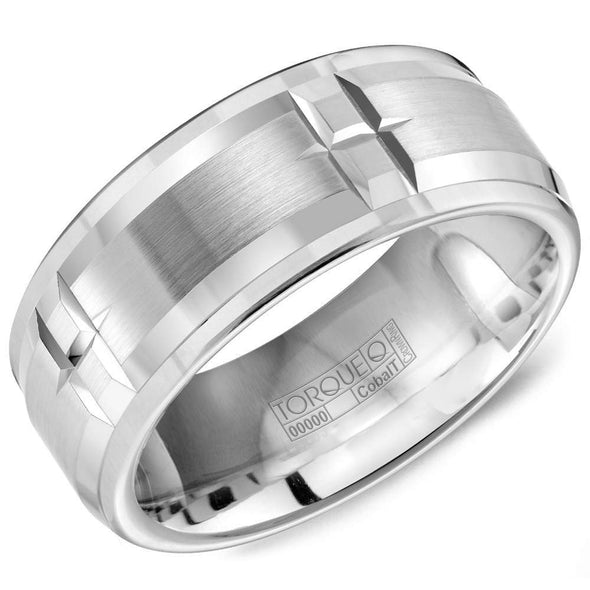 Gents White Cobalt Wedding Band w/ Line Pattern Details CB-9404 (9mm)