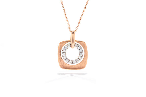 Gabriel New York 14K Rose Gold .17ctw Diamond Rounded Square Pendant Necklace NK4739
