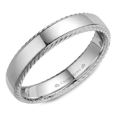 Gents 14K WG Wedding Band w/ Polished Finish & Rope Detailing WB-007R5W (5mm)