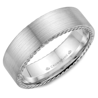 Gents 14K WG Wedding Band w/ Brushed Finish & Rope Detailing WB-009R7W (7mm)