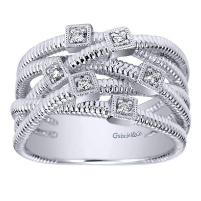 Gabriel NY 925 Silver Ladies Wide Band Scalloped Diamond Ring